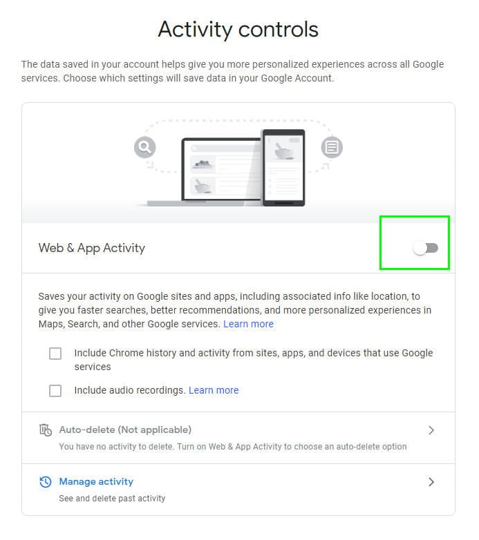 Web & App activity switch in Google
