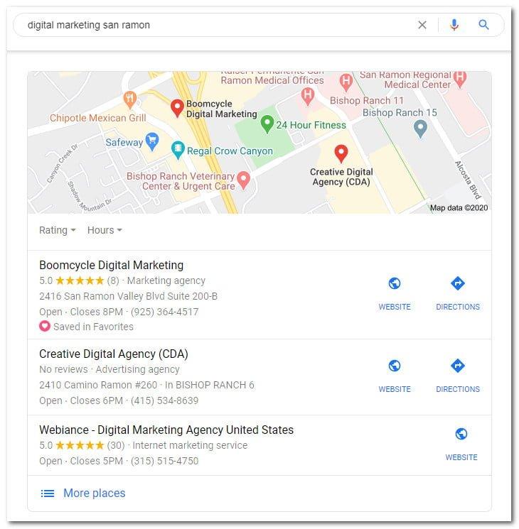 Boomcycle Digital Marketing in Google Maps Pack
