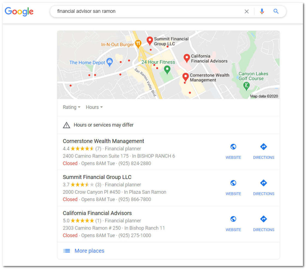 Financial Advisor Google Search Results by Boomcycle