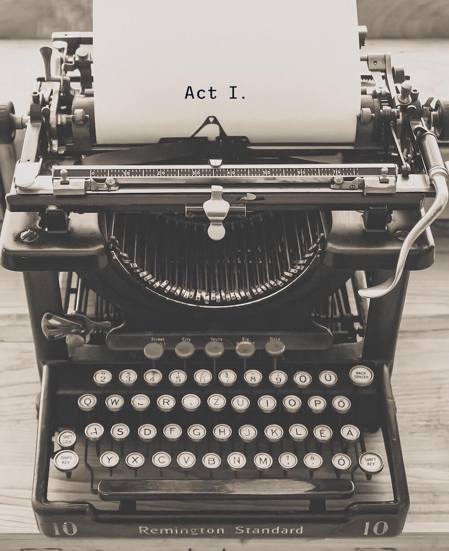 Typewriter with shocking titles
